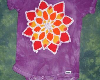 Mandala Lotus Flower Batik Baby Onesie CUSTOM Made For Your Little One