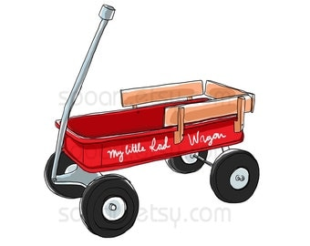 red wagon vintage toy -Original Illustrate Drawing  A4 Print transfer on Pillows, t-shirts, scrapbook, lampshades  ETC.v