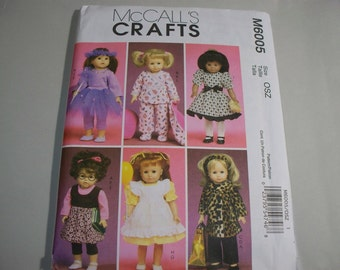 "New McCall's 18"" Doll Clothing Pattern, M6005  (Free US Shipping)"