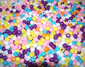 Bulk Lot,1000 Pony Beads, Easter / Spring Mix (Free US   Shipping)