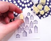 house rubber stamp set. winter village hand carved rubber stamp. diy christmas birthday gift wrapping. card making. holiday crafts. set of 7