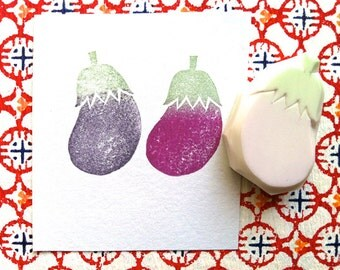 eggplant rubber stamp. vegetable hand carved rubber stamp. food stamp. gardening stamp. scrapbooking. gift wrapping. holiday crafts