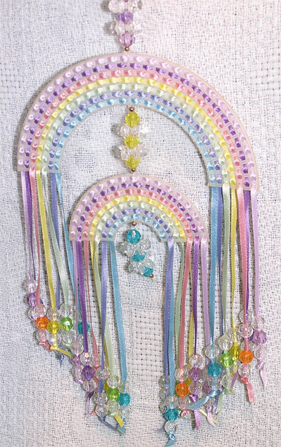 Window Suncatcher Mobile With Ribbons And Beads Handmade Baby