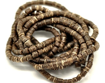 180 Natural brown coconut wood Beads - Donuts Rondelle Disk Beads 4mm  (PC204)