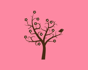 Tree with Bird Stamp   Bird on Tree Stamp   Rubber Stamp   Craft Stamp   A60
