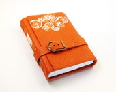 Orange Journal Leather Notebook, Diary -  Hand Painted Orange Color Leather Cover and blank white thick paper - europeanstreetteam