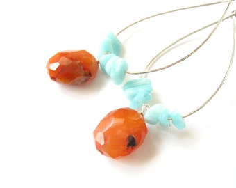 Sterling Silver Earrings with Amazonite and Carnelian (Mint and orange)