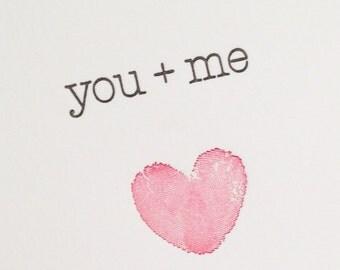 You and me fingerprint heart - Letterpress note card