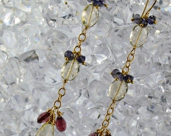 Scapolite Long Dangle Earrings Iolite Garnet 14k Gold Fill Gemstone Wire Wrapped Earrings