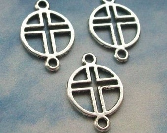 20 round cross connectors, two hole, silver tone, 21mm