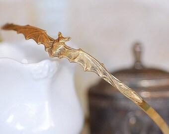 Free shipping Hairband  Gold Brass  Bat Cameo Headband Gothic  Vintage Old Hollywood Retro Bridal