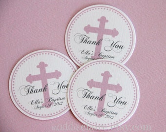 Personalized Pink CHRISTENING, BAPTISM or First COMMUNION Favor Tags