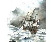 Ship 8x10 painting print