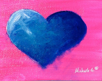 Original Small Daily Painting - Blue and Teal Heart on Pink Background - Unique Valentine