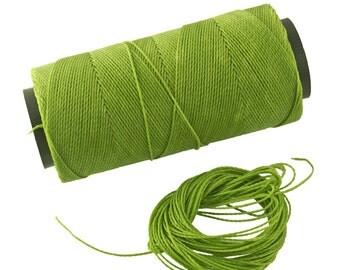 Pistachio: Waxed Polyester Cord, ~1mm Macrame Cord, pack of 25ft (8.33 yards) / Hilo Encerado, Linha Encerada, Waxed Polyester Thread