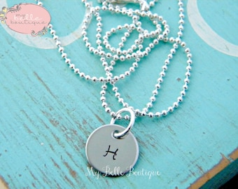 Simple Personalized Hand Stamped Initial Charm Pendant Tag Necklace