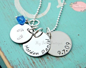 Personalized Hand Stamped Necklace with Baby Foot Prints, Name, Birth Date and Birthstone