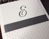 Swiss Dot Embossed Gray and Cream Personalized Stationery Blank Notecard Stationary with Letter E by Lime Green Rhinestones