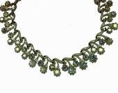 vintage Coro necklace Aurora Borealis iridescent crystal collar choker mid century modern retro wedding prom party gift