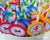 Striped Paper Straws, Choo Choo Train Birthday Party, Choo Choo Train Straws