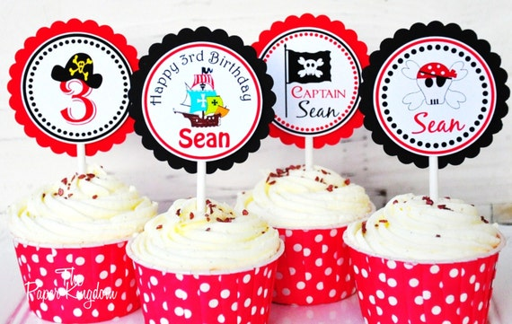 Pirate Cupcake Toppers, Pirate Ship, Pirate Birthday Party - Set of 12