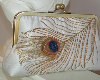 Peacock Silk Clutch/Purse/Bag..Long Island Bride/Bridal/Wedding Gift..Bronze Feather Embroidery..Ivory/Navy..Free Monogram