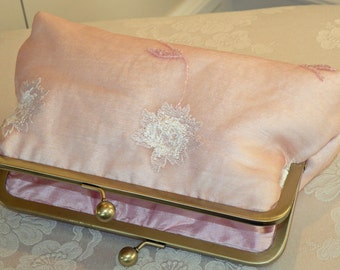 Silk Organza Clutch/Purse/Bag..Hands Free Wrap..Embroidered Beads Floral..Bridal Pink Ivory..Wedding..Evening..Party..Free Monogram