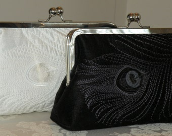 Peacock Feather Silk Embroidered Bridal Clutch/Purse/Bag..Black on Black..Bridesmaid/Wedding Party Gift..White on White..Free Monogram