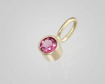 Pink Tourmaline Drop Pendant in 14k Yellow Gold (pendant only)