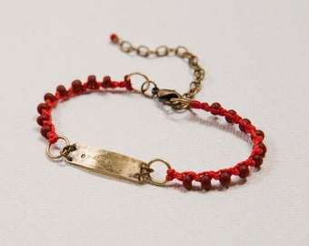 Feather & Moon Bracelet (red)