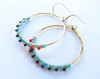 Full Moon Rising Hoops in turquoise and orange and dark green iridescent