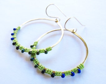 Full Moon Rising Hoops in light green and dark green iridescent and dark blue