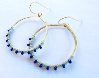 Full Moon Rising Hoops in mint and dark blue