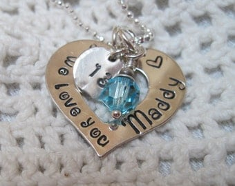 We Love You - Special Occasion, Graduation, Birthday - Sterling Silver  Hand Stamped Very Special Valentine Gift 4 Her
