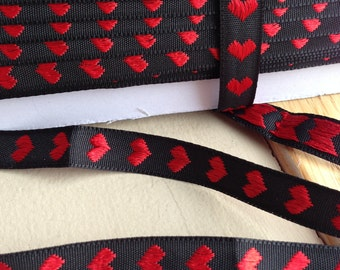 Vertical Heart Black and Red Jacquard Narrow Trim 1/2 inch width - 3 yards