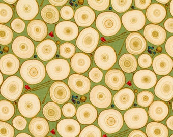 SALE Tree Rings in Natural with Green Background Classics Collection Martha Negley Rowan Fabrics - 1 yard