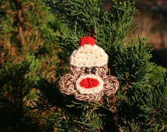 CROCHET PATTERN - Sock Monkey Applique --- Use as  Brooch/ Ornament/ Barrette