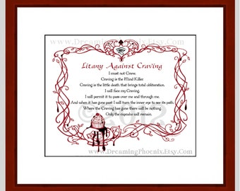 Litany Against Craving Quote Art Print: unframed