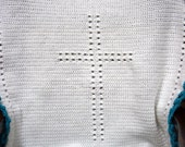 Baby afghan Christening gift baptism blanket crochet heirloom unisex boy or girl cross angel themed Made to order