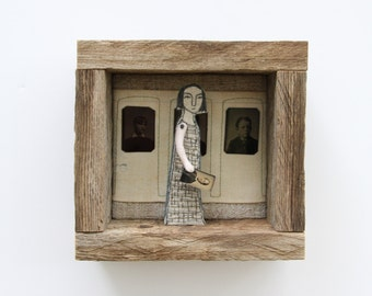 hand embroidery diorama- girl with tintypes textile art fiber art