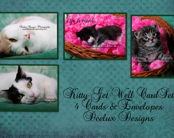 Get well cards set of 4 Photography cards with envelopes
