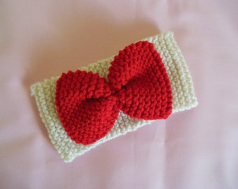 Hand knit turban style headband with bow   Winter ear warmer one size YOU CHOOSE COLOR