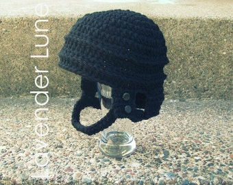 PDF CROCHET PATTERN: The Hockey Helmet, Photo Prop. Earflap Hat