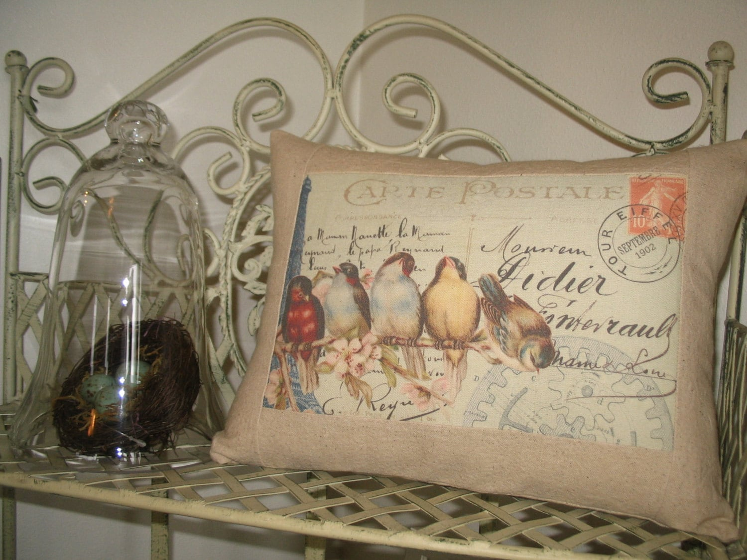 carte postale french bird throw pillow with french script. Black Bedroom Furniture Sets. Home Design Ideas