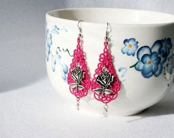EARRINGS - Chandelier Drop - Rose- Pink Swarovski Crystal - Valentines Day - Love - Free Standing Lace Embroidery