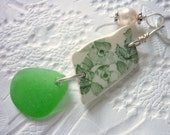 English Sea Glass Necklace with Floral Pottery Shard Green