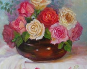 Still Life Oil Painting, Red,Pink,White Roses, Neutral Brown Vase, Original  by Cheri Wollenberg