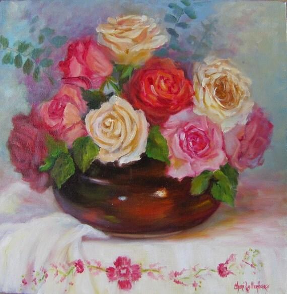 Still life oil painting redpinkwhite roses neutral brown for Peinture shabby chic