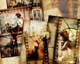 "Printable Download OLD FILM FRAMES images Digital Collage Sheet 2.5""x3.5"" size Gift tags Paper Craft Scrapbooking ArtCult vintage ladies"