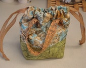 Cosmetic Tote, Travel Bag or Craft and Notions Tote